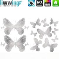Wandsticker - No. 4732 Wandtattoo Sticker Schmetterlinge Tiere Falter Glitzer silber Glitter