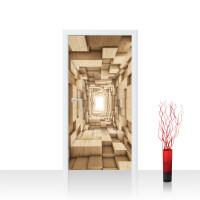 Türtapete - Abstrakt Holz Kasten Tunnel 3D | no. 944