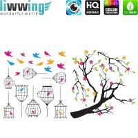 Wandsticker - No. 4833 Wandtattoo Sticker Baum Blätter Vögel bunt