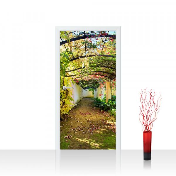 Türtapete - Way in my Garden Garten Terrasse Blumenranken Blume 3D Perspektive   no. 47