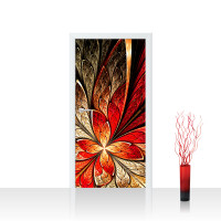 Türtapete - Yellow and Red Floral Ornament Ornament abstrakt 3D Wand Rot braun | no. 115