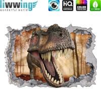 Wandsticker - No. 4773 Wandtattoo Sticker Durchblick Durchbruch Aussicht Dinosaurier Dinos TRex