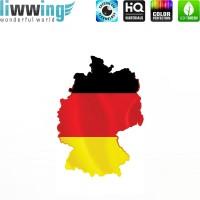 Wandsticker - No. 4623 Wandtattoo Sticker Wohnzimmer Flagge Deutschland Germany Landkarte schwarz rot gold