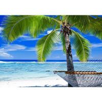 Fototapete Meer Tapete Strand Palme Wolken Wellen Hängematte Paradies blau | no. 1444