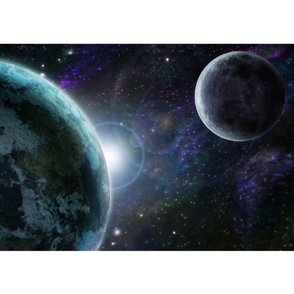VLIES FOTOTAPETE Erde mit Mond Tapete XXL Vliestapete