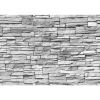 Fototapete Asian Stone Wall - grau anreihbare Tapete Steinwand Steinoptik Steine Wand Wall grau | no. 127