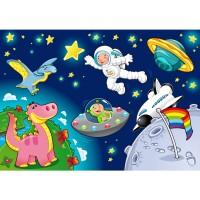 Fototapete Little Space Kindertapete Tapete Kinderzimmer Star All Weltall Mond Sterne blau | no. 89