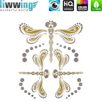 Wandsticker - No. 4826 Wandtattoo Sticker Glitzersticker gold Libelle Ornament Mandala