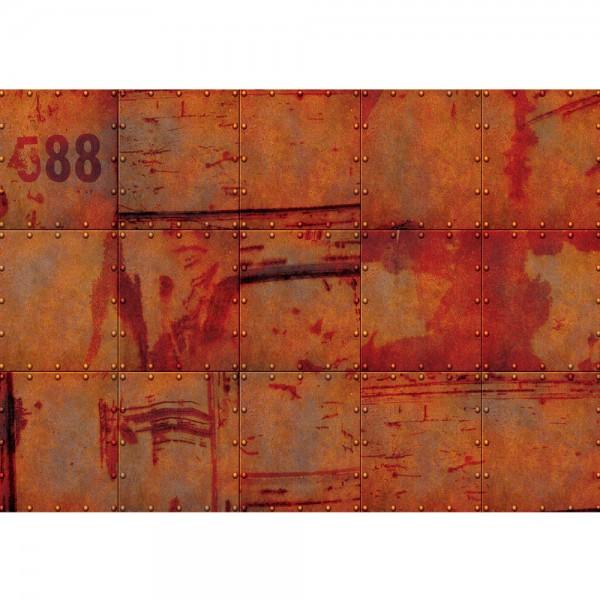 Fototapete 3D Tapete Abstrakt Wand Platten Zahlen Rost Nieten Design 3D rot   no. 826