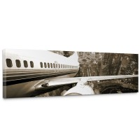 Leinwandbild Skyline Fligt Skyline Flugzeug Urlaub braun sephia | no. 48