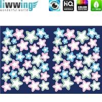 Wandsticker - No. 4759 Wandtattoo Sticker Leuchtsticker Fluoreszierend Neon Sterne