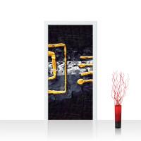 Türtapete - Abstrakt Ornament Gelb Schwarz Hintergrund | no. 219