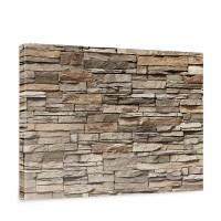 Leinwandbild Asian Stone Wall - braun Steinoptik Steinwand Stonewall Steine | no. 128