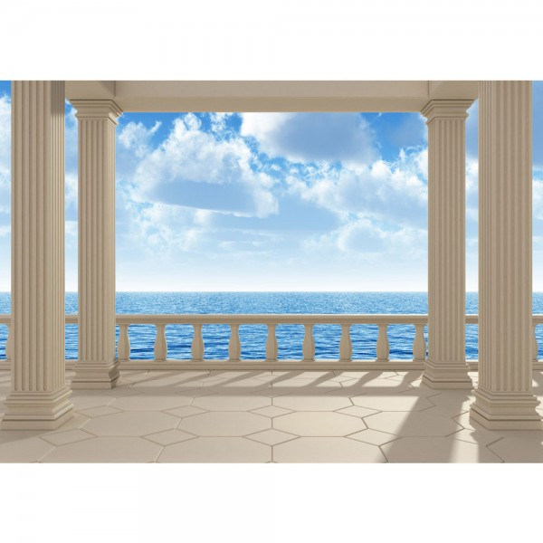 Fototapete Terrace View Silent Ocean Meer Tapete Ausblick Terrasse 3D Strand Meer Sonne Wolken Himmel blau   no. 122