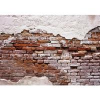 Fototapete Steinwand Tapete Backsteinmauer, Putz, rustikal, Vintage rot | no. 3258