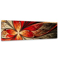 Leinwandbild Yellow and Red Floral Ornament Ornament abstrakt 3D Wand Rot braun | no. 115