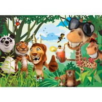 Fototapete Jungle Animals Party II Kindertapete Tapete Kinderzimmer Zoo Tiere Safari Comic Party Dschungel bunt | no. 87