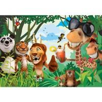 Fototapete Jungle Animals Party II Kindertapete Tapete Kinderzimmer Zoo Tiere Safari Comic Party Dschungel bunt | no. 87