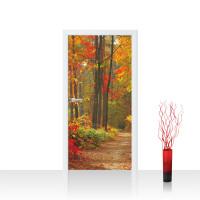 Türtapete Türposter Türfolie - Natur - Weg Wald Bäume Herbst - no.994