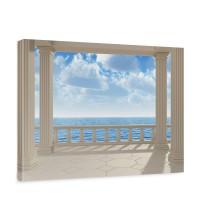 Leinwandbild Terrace View Silent Ocean Seeblick 3D Strand Meer Sonne Wolken Himmel | no. 122