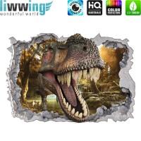Wandsticker - No. 4770 Wandtattoo Sticker Durchblick Durchbruch Aussicht Dinosaurier Dinos TRex