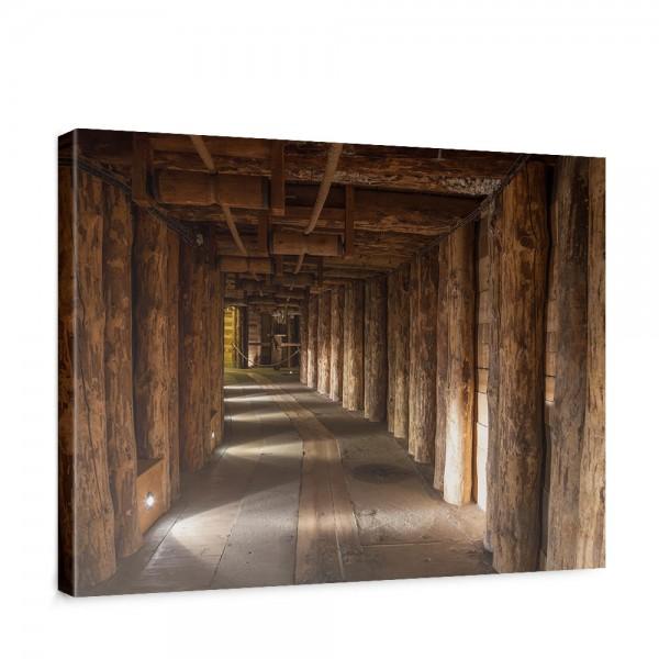 Leinwandbild Salt Mine Salzbergwerk braun Holz Bergwerk rustikal Balken 3D Tunnel   no. 27