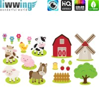 Wandsticker - No. 4835 Wandtattoo Sticker Windmühle bunt Illustration Bauernhof Tierem Kuh Schaf