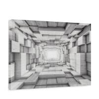 Leinwandbild Kunst Kisten Holz Tunnel Licht Rechtecke 3D Optik | no. 1401