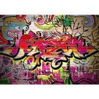 Fototapete Graffiti Tapete Kinderzimmer Graffiti Streetart Graffitti Sprayer 3D bunt braun | no. 220