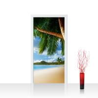 Türtapete - Lonely Beach Strand Meer Palmen Beach 3D Ozean Palme | no. 4