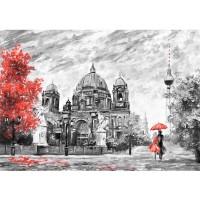 Fototapete Gemälde & Kunstwerke Tapete Stadt Malerei Berlin Baum Stuhl Frau Mann rot   no. 4555