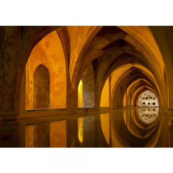 Fototapete Bath of Alcazar Architektur Tapete Arkaden 3D Perspektive Gewölbe Bad Wasser Reflexion braun | no. 63