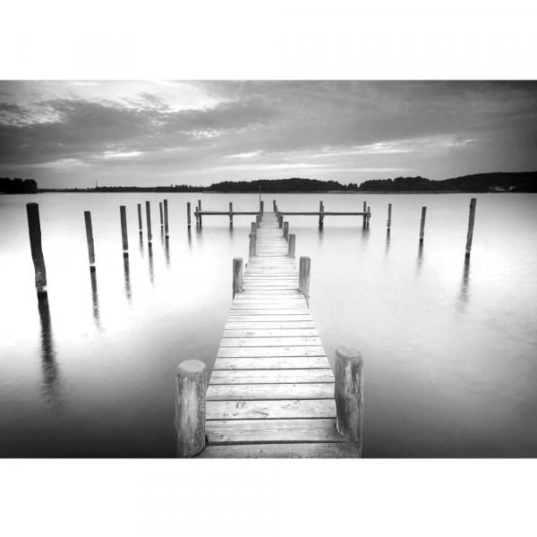 Fototapete Wasser Tapete Steg Wasser See Holz Himmel schwarz - weiß | no. 3009