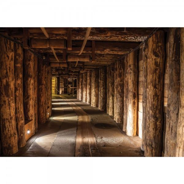 Fototapete Berge Tapete Holzstämme Holzwand Bergwerk Stollen Tunnel Licht braun | no. 2847