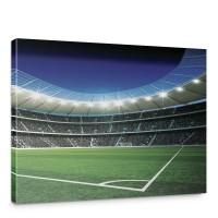 Leinwandbild Fußballstadion Eckpunkt Flutlicht Rasen Tor Tribüne Fans Lichter Sterne Nacht | no. 945