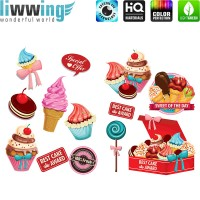 Wandsticker - No. 4707 Wandtattoo Sticker Eis Cupcakes Kuchen Lolli Torten Illustration