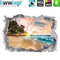 Wandsticker - No. 4774 Wandtattoo Sticker Durchblick Durchbruch Aussicht Strand Palmen Beach Meer Sea