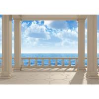Fototapete Terrace View Silent Ocean Meer Tapete Ausblick Terrasse 3D Strand Meer Sonne Wolken Himmel blau | no. 122