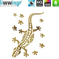 Wandsticker - No. 4827 Wandtattoo Sticker Glitzersticker gold Gecko Salamander Natur