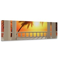 Leinwandbild Terrace View Romantic Sunset Meer Strand Beach Sonnenuntergang Palmen | no. 123