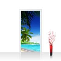 Türtapete - Paradise Beach Strand Meer Palmen Beach 3D Ozean Palme | no. 5
