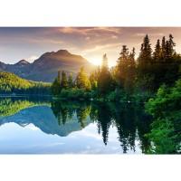 Fototapete Mountain Lake View Landschaft Tapete Berge See Sonnenuntergang Romantisch Bäume Wald blau | no. 51