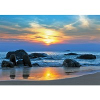 Fototapete Meer Tapete Strand Felsen Meer Wellen Sonnenuntergang blau | no. 453