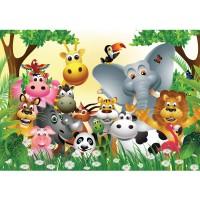 Fototapete Jungle Animals Party Kindertapete Tapete Kinderzimmer Dschungel Zoo Tiere Giraffe Löwe Affe bunt | no. 13