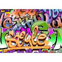 Fototapete Graffiti Tapete Kinderzimmer Graffiti Streetart Graffitti Sprayer 3D bunt schwarz - weiß | no. 221