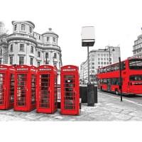 Fototapete London Tapete London Bus Telefonzelle schwarz - weiß   no. 1296