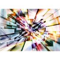 Fototapete Kunst Tapete Abstrakt Kunst 3D Tunneloptik Kacheln bunt | no. 2167