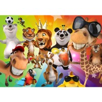 Fototapete Safari Party Animals Kindertapete Tapete Kinderzimmer Zoo Tiere Safari Comic Party Dschungel bunt | no. 88