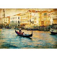 Fototapete Venedig Tapete Venedig Kanal Italien Boot Wasser grau | no. 240