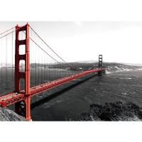 Fototapete USA Tapete Golden Gate Bridge Wasser USA schwarz-weiß. Rot rot | no. 429